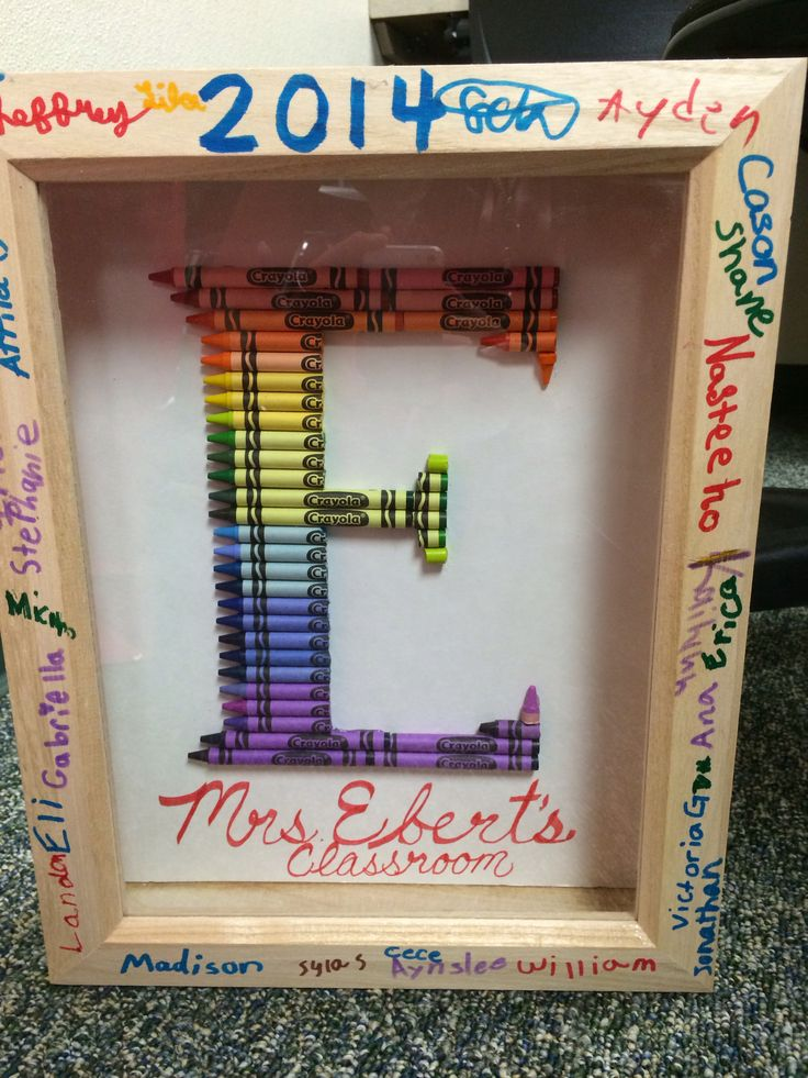 Teacher's gift idea: Crayon monogram letter E. Her teacher loved the special touch of all the kids  signatures!