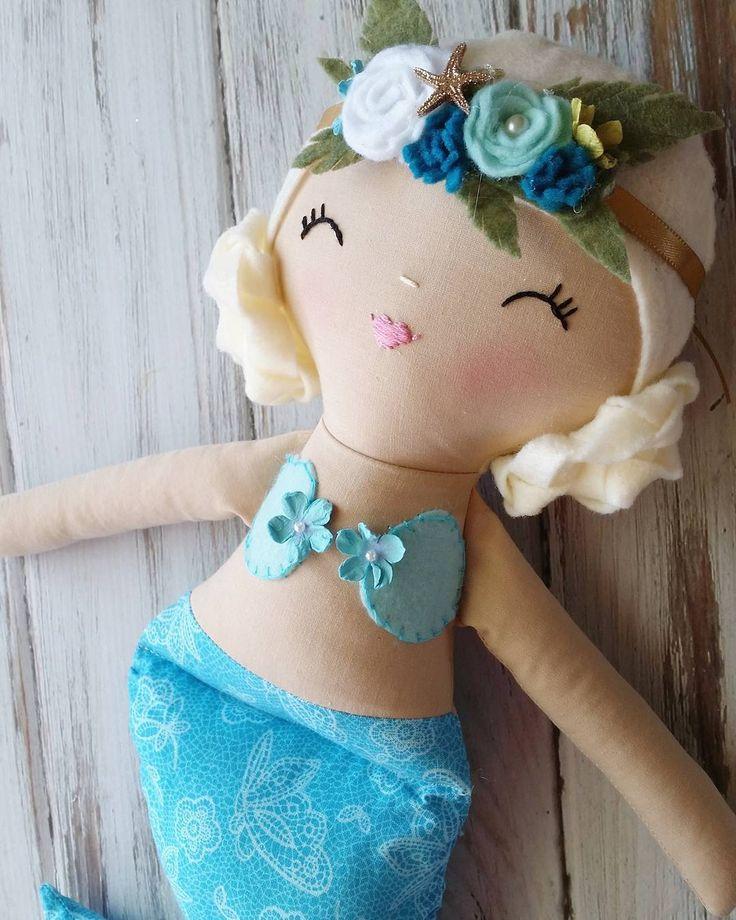 """And I love that you can play with her hair. Mermaid Doll by SpunCandy   #spuncandydolls #handmadedolls #mermaiddoll #kidsdecor"""