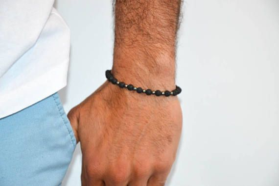 Lava Beaded Bracelet Men, Lava Bracelet, Men's Bracelet, Men's Jewelry, Lava Beads, Gift for Men, Made in Greece.