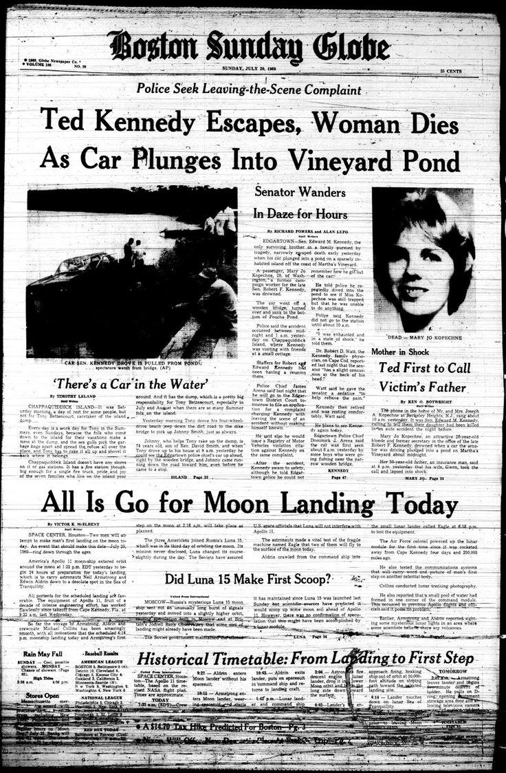 chappaquiddick headline trumps the upcoming moon landing on 7/20/69 Boston Globe.