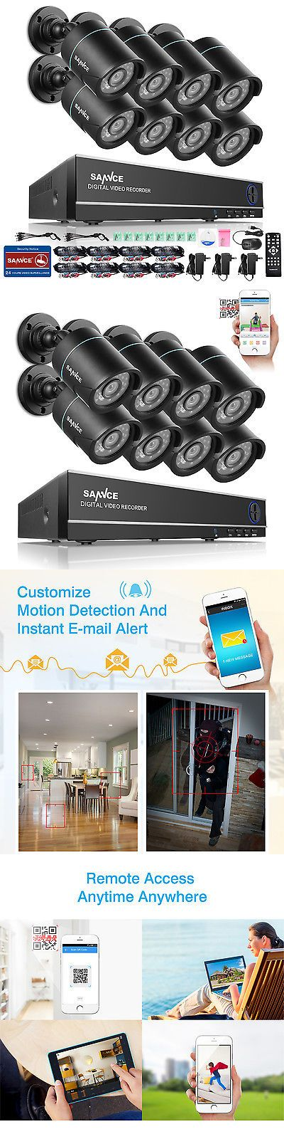 Surveillance Security Systems: Sannce 8Ch 1080N Dvr Outdoor Video Night Vision Home Cctv Security Camera System BUY IT NOW ONLY: $165.89