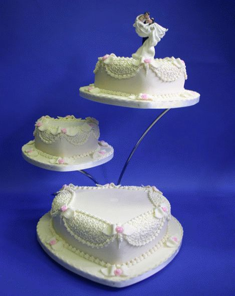 3 Tier Heart Shaped Wedding Cake White Scallop Lace Detail!