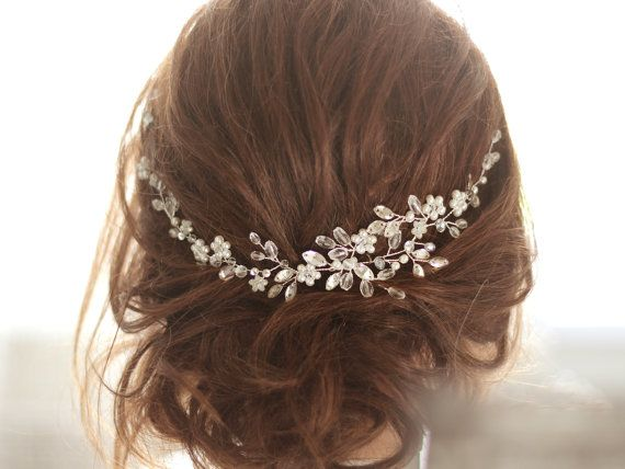 Braut Kopfschmuck Kristall Braut Haarteil Cristal und Perle