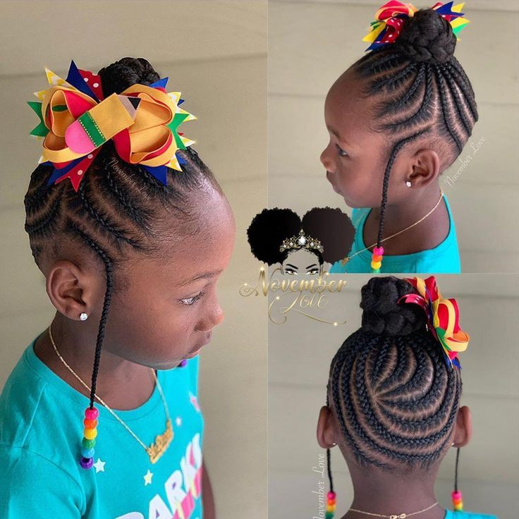 Children's Braids and Beads! Bow Available for Online Purchase! #ChildrenHairStyles #BraidArt #ChildrensBraids #BraidsAndBeads… #MustTryBraids