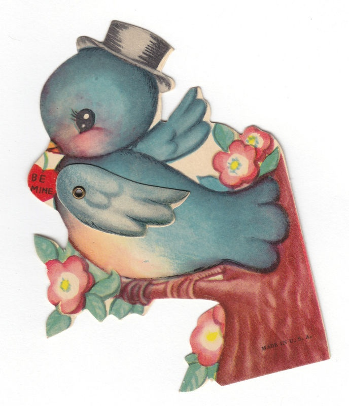Vintage Bluebird Valentine Card with Movable Wing