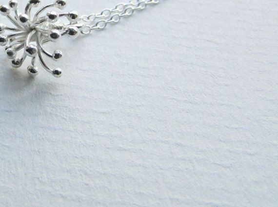 Dandelion Necklace  Sterling Silver Tactile  by ButtonsyJewellery