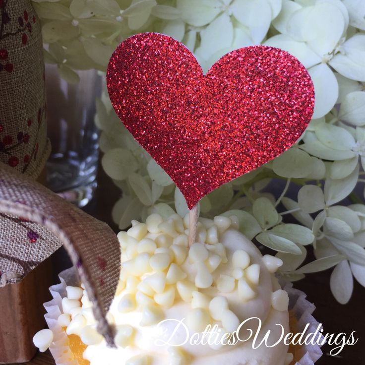 Excited to share the latest addition to my #etsy shop: 12 Red Heart Cupcake Toppers Sparkling RED HEARTS Wedding Cake Decorations