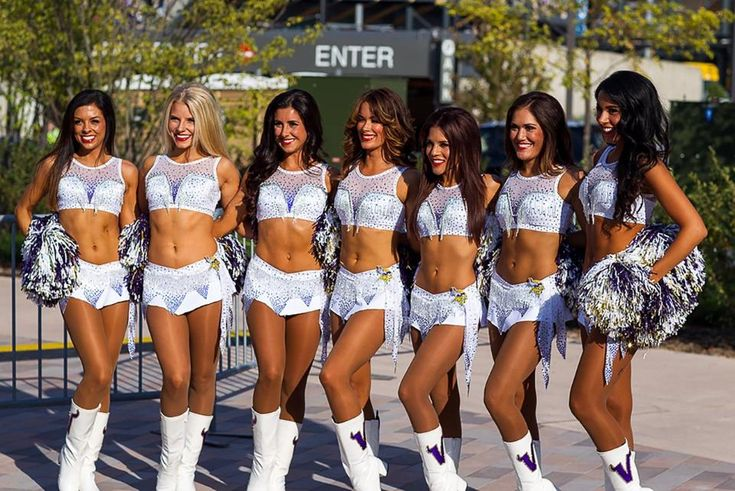 Minnesota Vikings Cheerleaders new uniform Ice.  Check out the behind-the-scenes making of this professional cheer uniform on the blog!