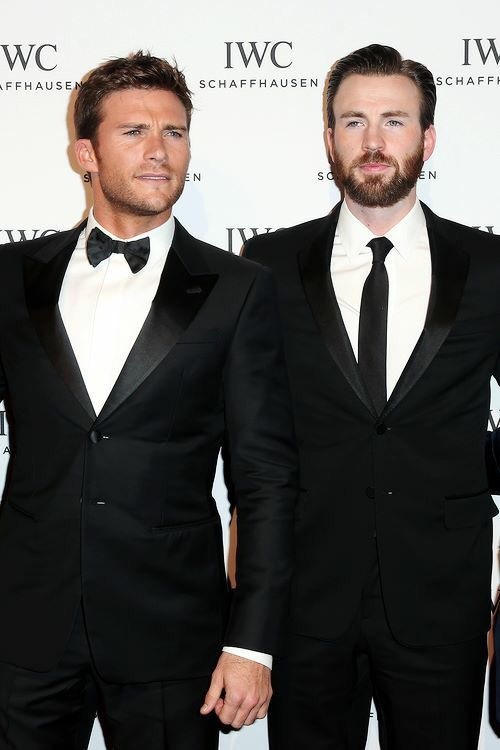 Scott Eastwood and Chris Evans attend the IWC 'Come Fly with us' Gala Dinner during the launch of the Pilot's Watches Novelties from the Swiss luxury watch manufacturer IWC Schaffhausen at the Salon International de la Haute Horlogerie (SIHH) 2016 on January 19, 2016 in Geneva, Switzerland.
