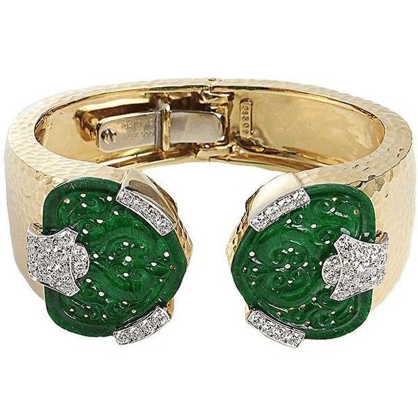 David Webb Jade and Diamond Bracelet ($46,000) ❤ liked on Polyvore