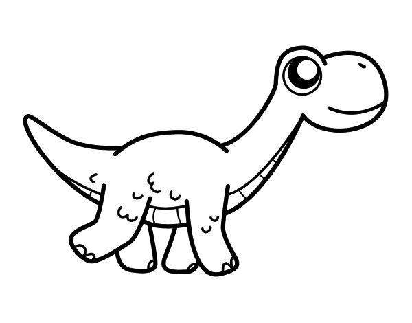 Dibujo de Diplodocus feliz para colorear  Dibujos de ...