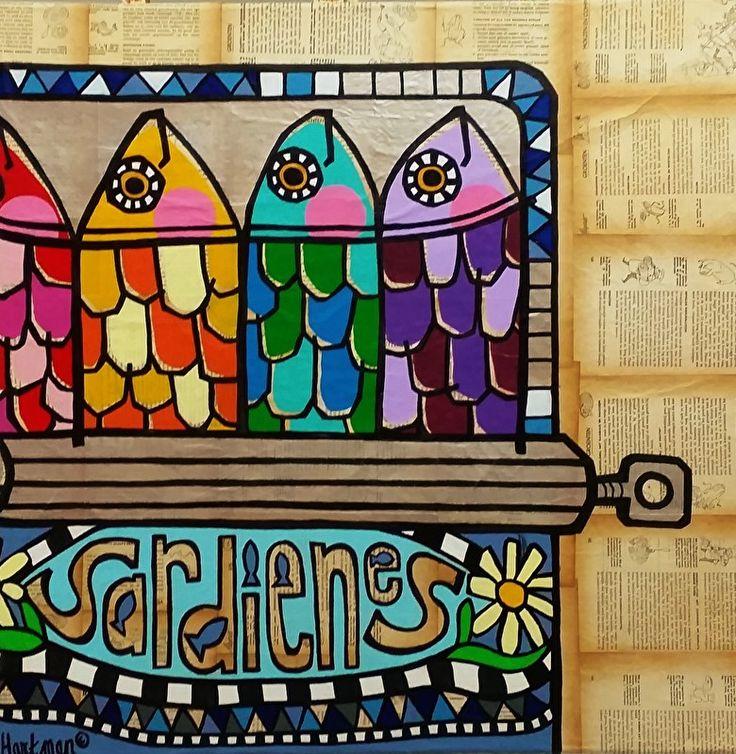 kleurrijk schilderij, kleurrijke schilderijen, vrolijk schilderij, popart, Sardienes in blik  (80 x80)