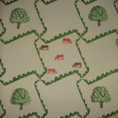 Trees and Cows wallpaper - Edward Bawden