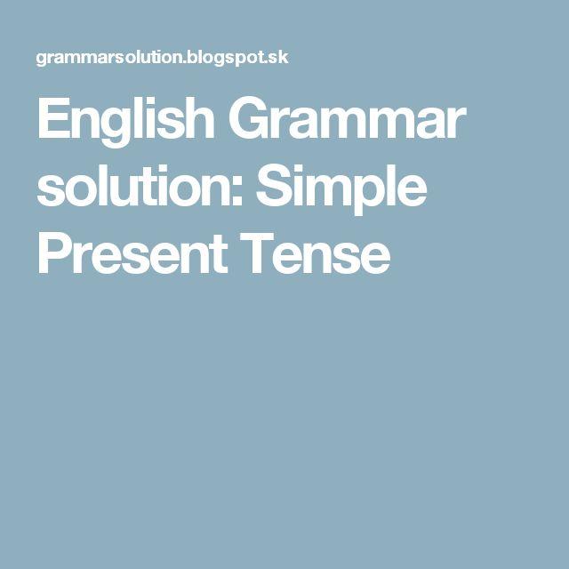 English Grammar solution: Simple Present Tense
