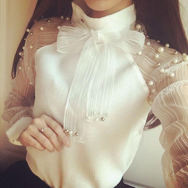 2015 Nueva primavera elegante organza arco de La Perla Blanco blusa de la gasa ocasional de la camisa blusas de las mujeres tops blusas femininas 607I 25