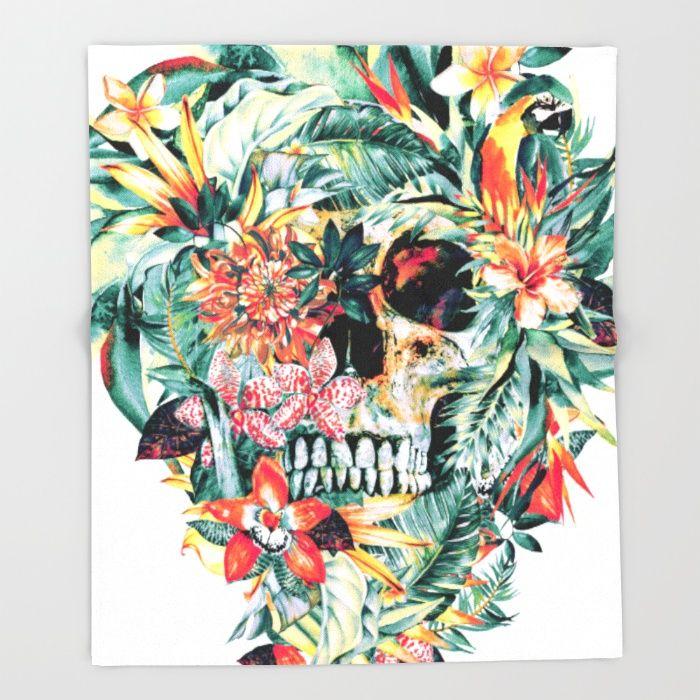 MOMENTO MORI V Throw Blanket #skull #tropical #floral #birds #summer #gift #society6 #watercolor #home #decor