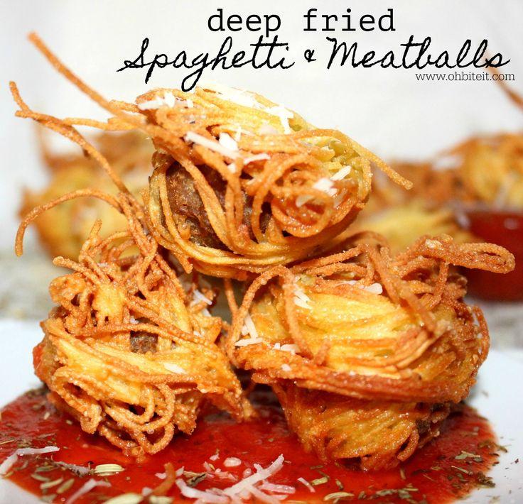 ~Deep Fried Spaghetti & Meatballs!