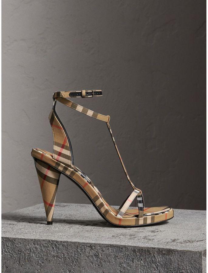 62ad1d4132e Burberry Vintage Check Cotton High-heel Sandals