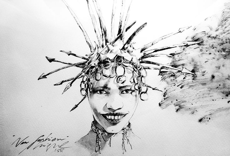 """New fashion"". Tinta sobre papel, año 1991."