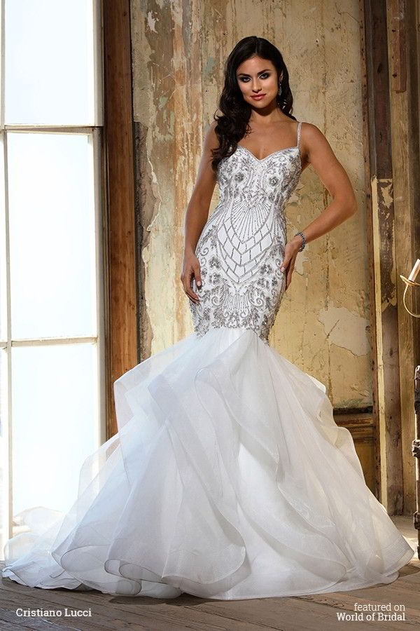 Beaded straps V neckline with fit and flare draped skirt bodice with dramatic beading.