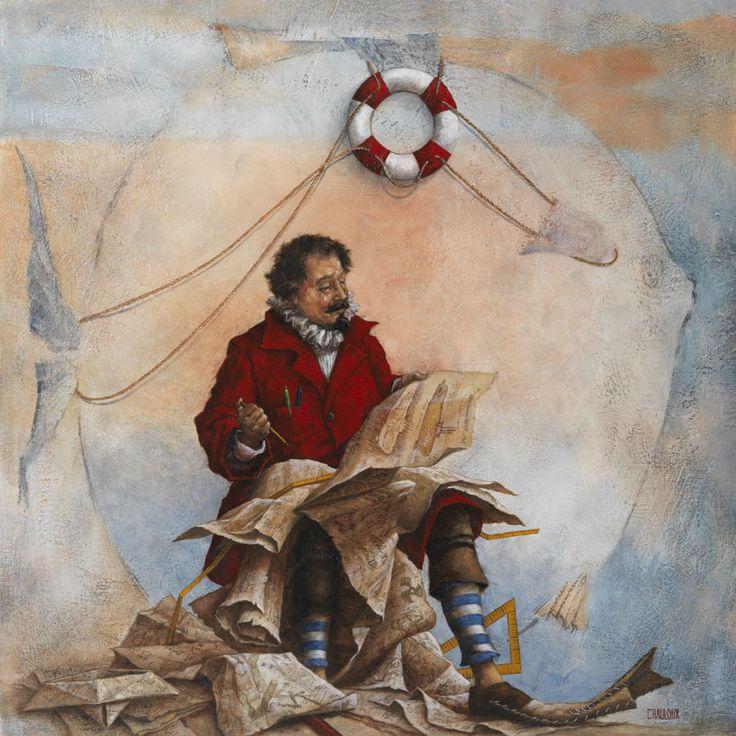 Catherine Chauloux, Capitaine Némo - Huile sur toile - 80 x 80 cm