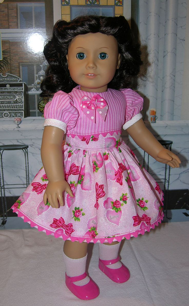 Vintage Valentine - Valentine party dress for American Girl doll with shoes. $40.00, via Etsy.
