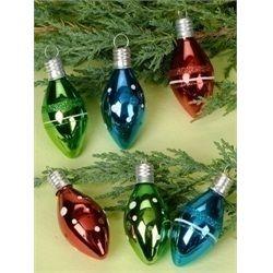 Retro Red, Blue & Green Christmas Light Bulb Glass Ornaments
