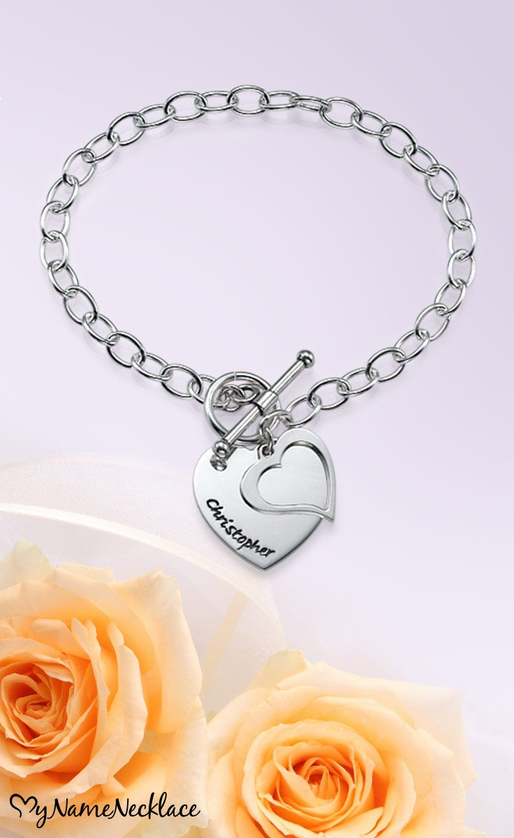 Charm bracelets are extremely trendy and this fun and fashionable Double Heart Charm Bracelet is not only great to wear, but it also comes personalized! The ideal gift for your girls on your wedding day!