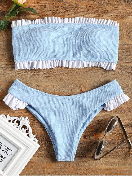 bee60a44a4 kawaii online store Up to 80% OFF! Ruffle Bandeau Bikini Set.  Zaful   Swimwear  Bikinis zaful