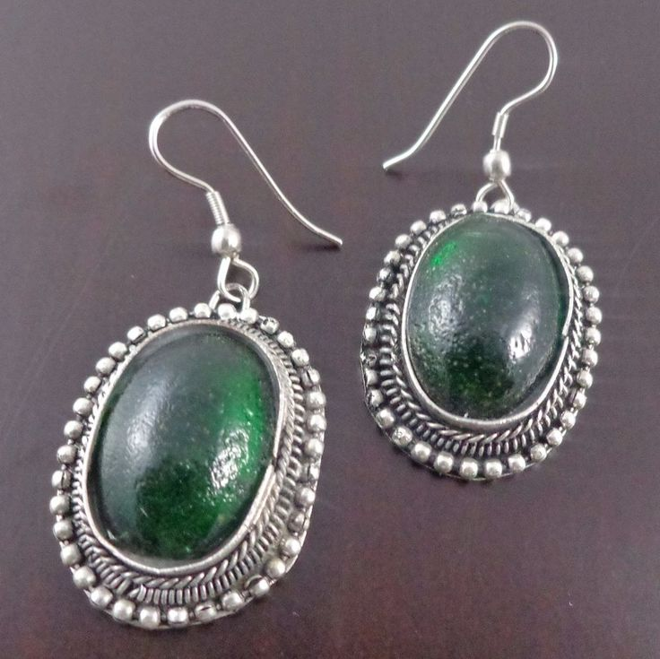 Emerald Green Gemstone Oval Earrings 925 Sterling Silver Plated Indian Ethnic…