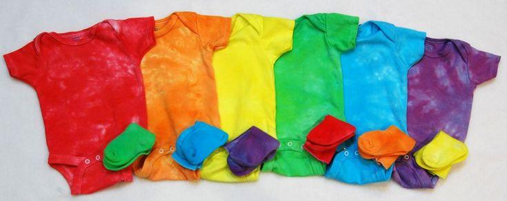 Something like this, maybe. Rainbow Shower- tie dye onsies