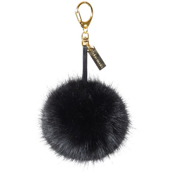 Helen Moore Pom Pom Keyring - Jet ($41) ❤ liked on Polyvore featuring accessories, black and black key ring
