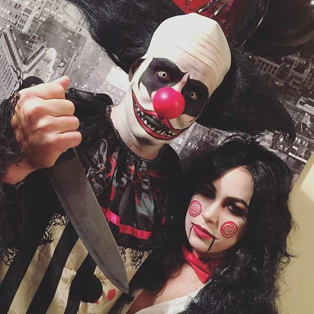 Scary Clown and Saw -Couples Halloween Costume Idea