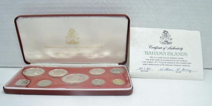 1973 COINS OF THE BAHAMAS PROOF SET STRUCK FRANKLIN MINT W/ COA STERLING SILVER