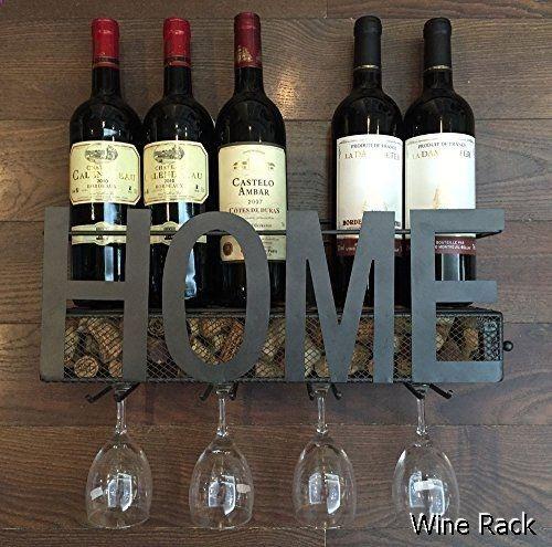 Wine Rack - Wall Mounted Metal Wine Rack 4 Long Stem Glass holder & Wine Cork Storage By Soduku