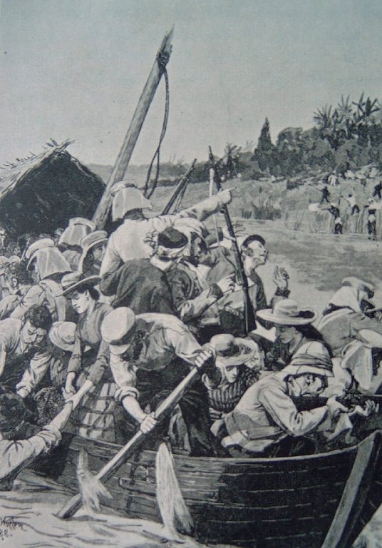 British fugitives fleeing Kanpur - JUNE 1857 Source: H. Gilbert, The Story of the Indian Mutiny, 1916