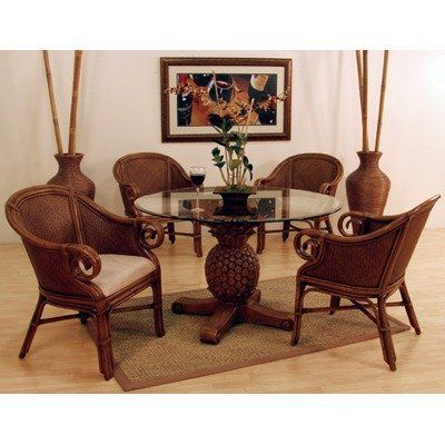 sunset reef piece indoor rattan dining set club chairs pineapple base fabric round table chris madden wood