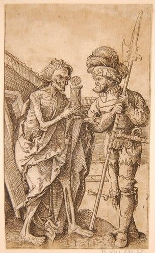 Death and the soldier; after Dürer's woodcut (Meder 239); the lansquenet standing at right, holding his halberd; Death as a skeleton clothed in rags holding an hourglass at left. Etching