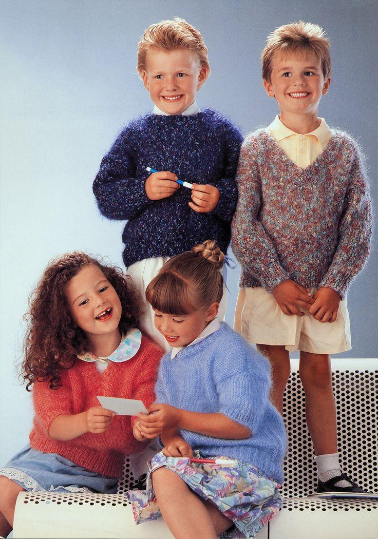 boys kids mohair sweater, photo from tivoli knitting pattern, fuzzy fluffy childs childrens