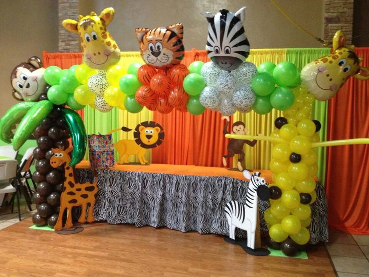 Safari arch balloon archs arco con globos pinterest for Animal party decoration