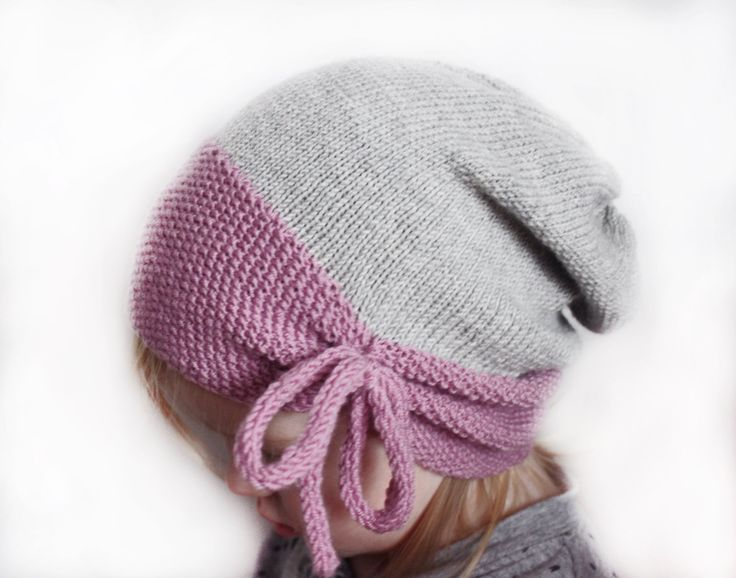 Toddler beanie - Slouchy beanie - Wool hat - Baby girl hat - Knit beanie - Merino wool hat - Hand knit hat - Thin -Spring Winter - Pink Gray (28.00 EUR) by MaceriLT