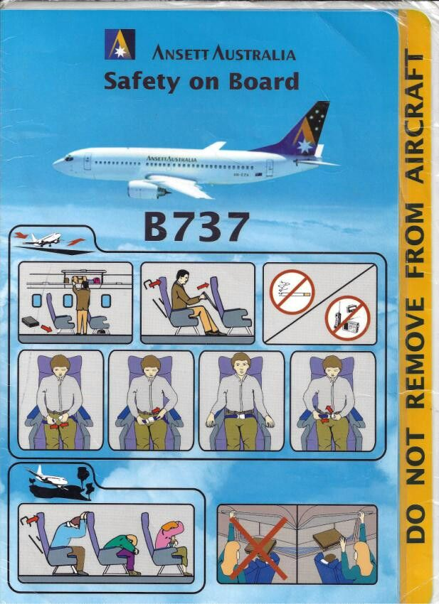 Ansett Australia B737 safety card