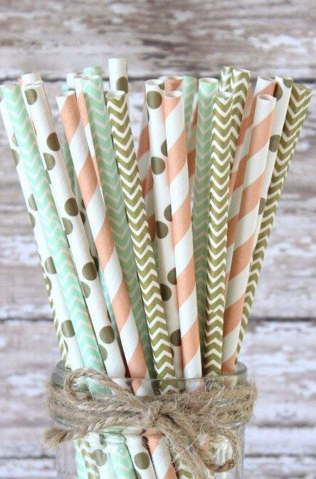 Peach, mint green and gold paper straws-set of 25- Vintage peach, mint green and…