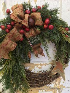 Primitive Christmas Wreath Rustic Christmas by FlowerPowerOhio