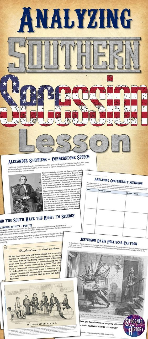 Civil War secession primary source activity! Great lesson plan on why southern states seceded from the Union!