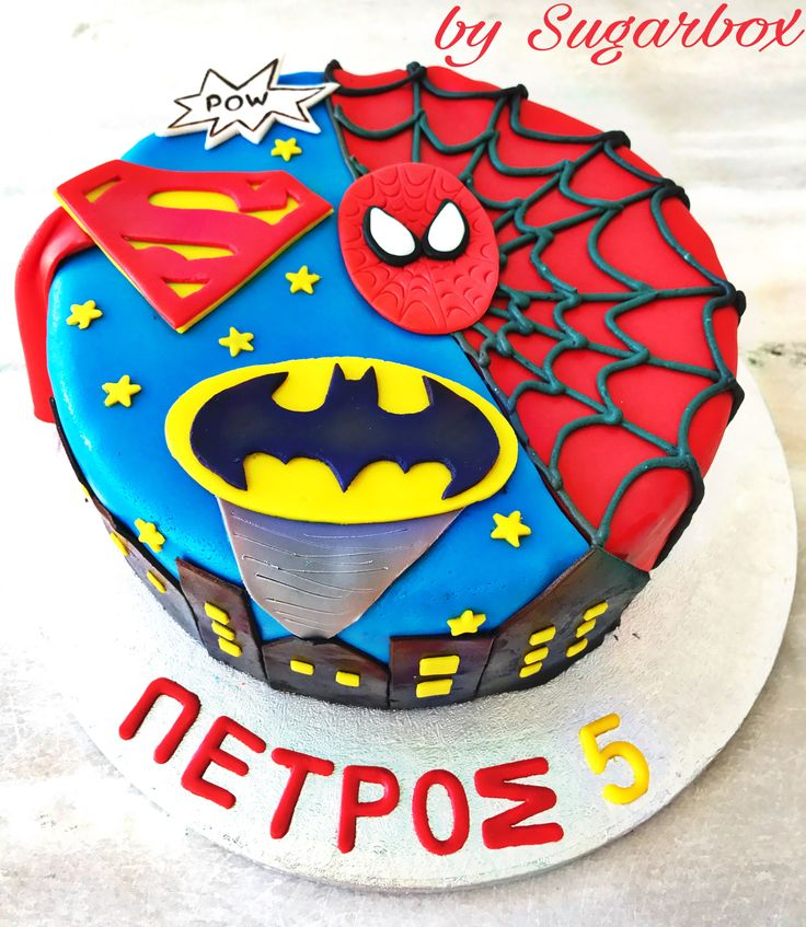 Superman Spiderman Batman Birthday Cake Marvel