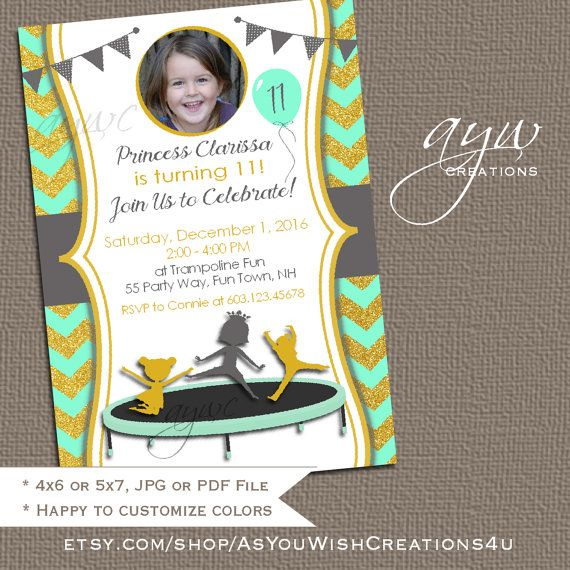 Trampoline Birthday Party Invitation  Jump by AsYouWishCreations4u
