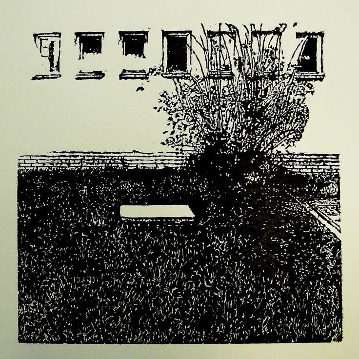 Jilemnického 554-24  (printmaking, cutting into MDF) #printmaking #woodcut #bunker #art