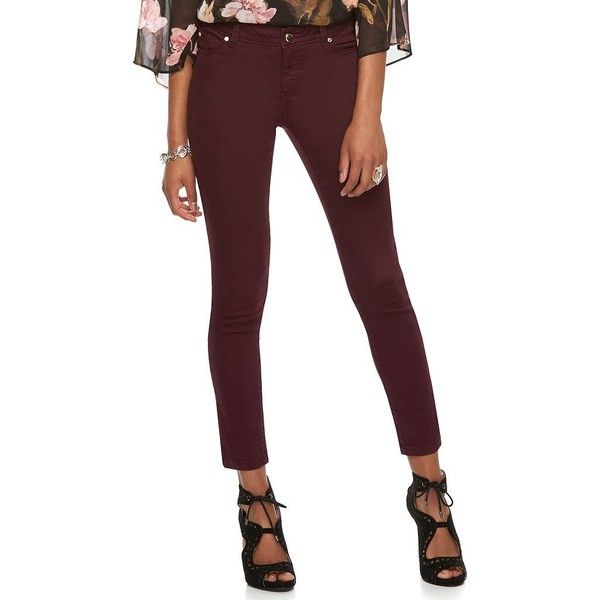 Petite Jennifer Lopez Maroon Skinny Jeans ($37) ❤ liked on Polyvore featuring jeans, dark red, petite, petite short jeans, slim skinny jeans, jennifer lopez jeans, skinny jeans and white jeans
