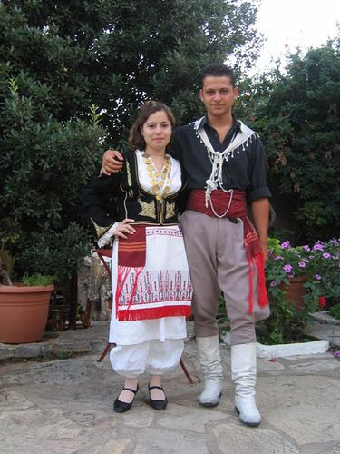Traditional Cretan costumes by Maragakis Manolis, via Flickr. White sariki.
